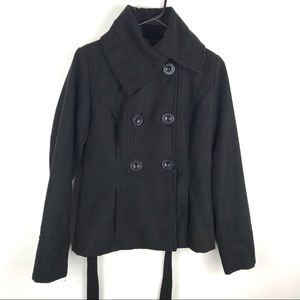 Aviva Medium Double Breasted Pea Coat Wool Black